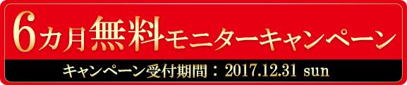 6ヵ月無料モニターキャンペーン キャンペーン受付期間2017年12月31日まで